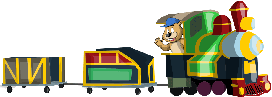 cartoon image of the woodhaven express train
